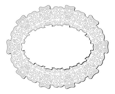 Beautiful monochrome illustration for coloring book page with isolated on the white background abstract linear eastern pattern with copy space