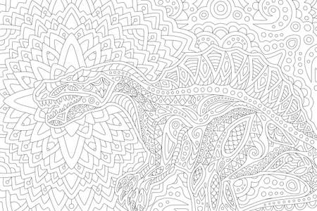 Beautiful black and white vector illustration for coloring book page with stylized spinosaurus