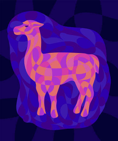 Beautiful colorful illustration with shiny neon colored lama silhouette on the dark blue background 矢量图像