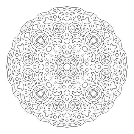Beautiful round linear pattern for coloring book page with stylized pizza isolated on the white background 矢量图像