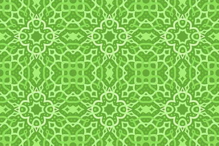 Beautiful green web background with abstract knotwork seamless pattern