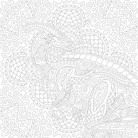 Beautiful linear black and white illustration for coloring book with stylized parasaurolof