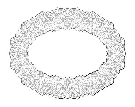 Beautiful monochrome illustration for coloring book page with isolated on the white background linear abstract tribal pattern with copy space