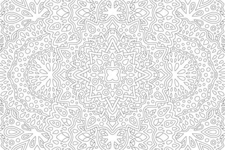 Beautiful black and white illustration for adult coloring book with abstract rectangle linear pattern