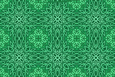 Green web background with beautiful abstract seamless pattern with leaves