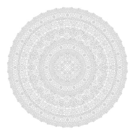 Beautiful monochrome illustration for adult coloring book page with isolated on the white background detailed round linear pattern