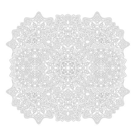 Beautiful monochrome illustration for adult coloring book page with detailed abstract linear pattern isolated on the white background