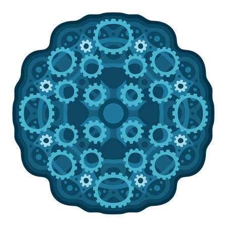 Beautiful illustration with blue steam punk pattern with gears shapes isolated on the white background