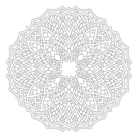 Beautiful monochrome illustration for coloring book page with abstract round linear pattern isolated on the white background