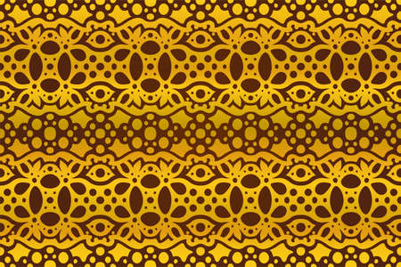 Beautiful illustration with abstract golden seamless pattern on the dark purple background