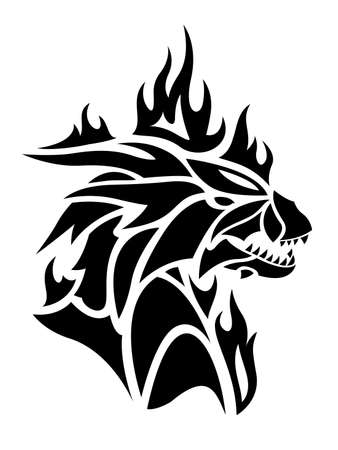 Beautiful tribal tattoo illustration with black flaming dragon head on the white background 矢量图像