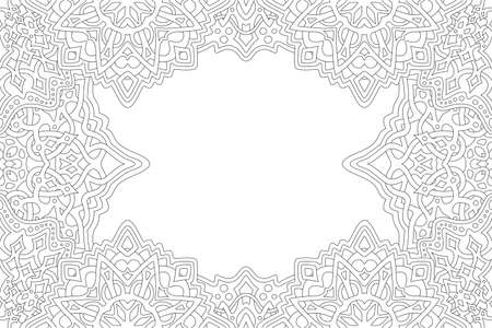 Beautiful monochrome linear illustration for adult coloring book page with abstract fantasy rectangle border and white copy space 矢量图像
