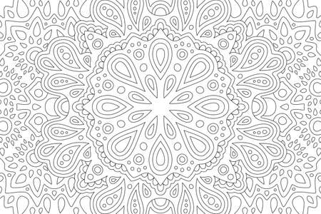 Beautiful black and white illustration for coloring book with abstract rectangle eastern linear pattern 矢量图像