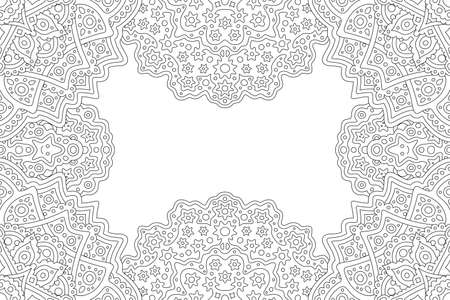 Beautiful monochrome linear illustration for adult coloring book with abstract fantasy rectangle border and white copy space