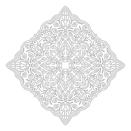 Beautiful monochrome illustration for coloring book page with isolated on the white background floral linear pattern with decorative leaves