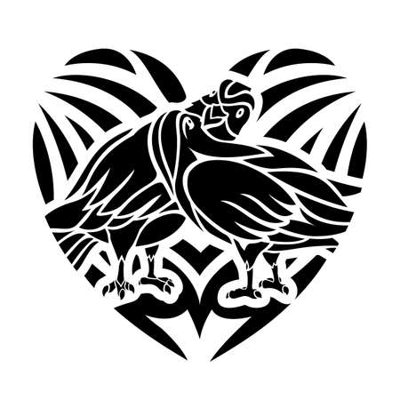 Beautiful black tribal tattoo illustration with doves in the heath shape on the white background 矢量图像