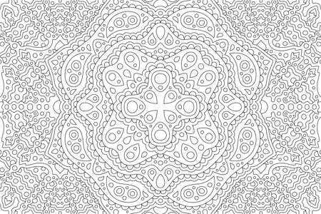 Beautiful black and white illustration for adult coloring book with abstract eastern linear pattern