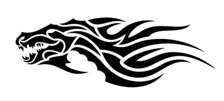Beautiful tribal tattoo illustration with black evil dragon head on the white background