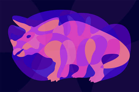 Beautiful colorful illustration with shiny neon colored triceratops silhouette on the dark blue background 矢量图像