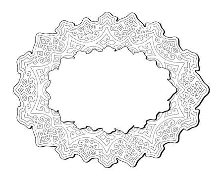 Beautiful monochrome illustration for coloring book page with linear abstract eastern pattern isolated on the white background with copy space