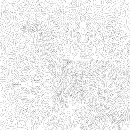 Beautiful black and white illustration for adult coloring book with square linear pattern with decorative dinosaur silhouette 矢量图像