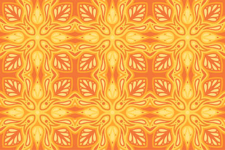 Beautiful abstract orange illustration with hot flaming seamless pattern