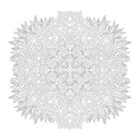 Beautiful monochrome fantasy style illustration for adult coloring book page with linear abstract pattern isolated on the white background