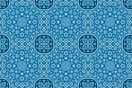 Beautiful blue web background with abstract geometric seamless pattern