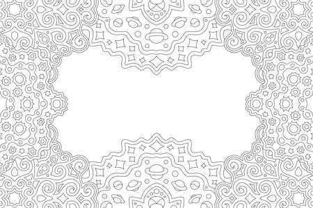Beautiful monochrome linear illustration for coloring book page with cosmic rectangle border with planets and stars and white copy space
