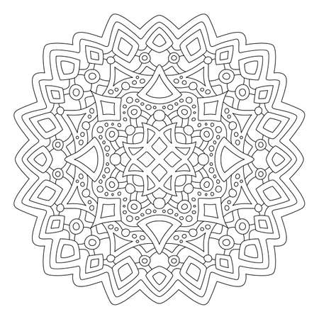 Beautiful monochrome illustration for coloring book page with round linear abstract pattern isolated on the white background 矢量图像