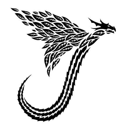 Beautiful tribal tattoo illustration with black flying dragon silhouette on the white background