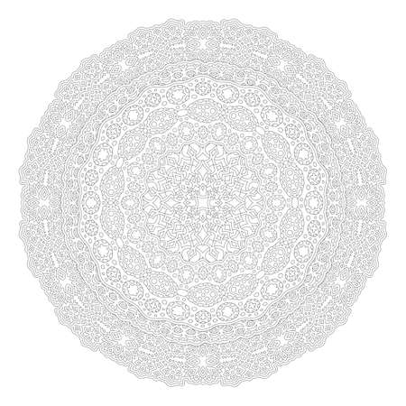 Beautiful monochrome illustration for adult coloring book page with detailed round linear abstract pattern isolated on the white background