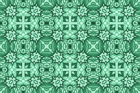 Beautiful green web background with tribal abstract seamless tile pattern 矢量图像