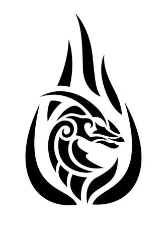 Beautiful tribal tattoo illustration with black flaming dragon head isolated on the white background