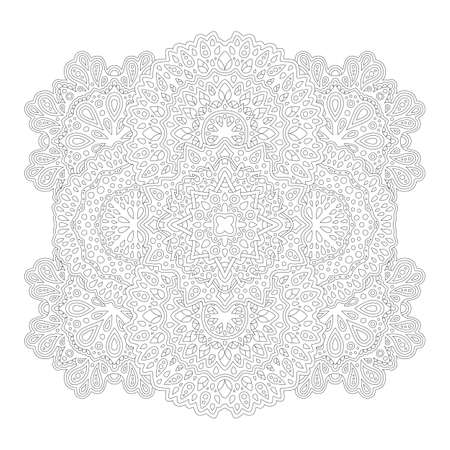 Beautiful monochrome illustration for adult coloring book page with detailed linear abstract pattern isolated on the white background