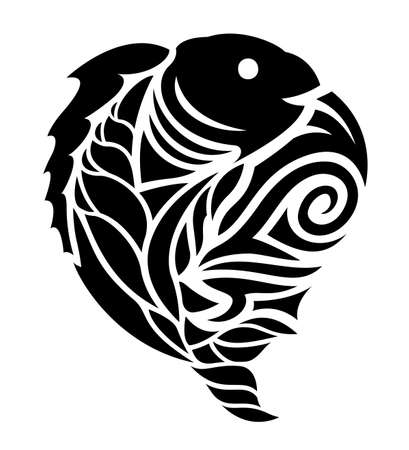 Beautiful black tribal tattoo illustration with stylized fish silhouette on the white background
