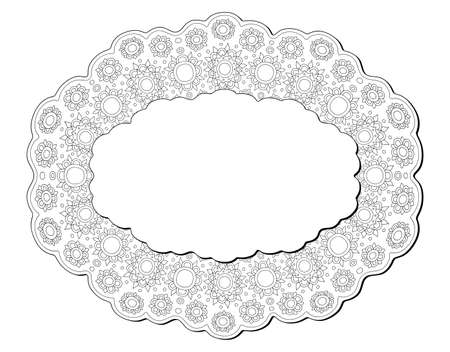 Beautiful monochrome label for coloring book page with isolated on the white background linear abstract pattern with copy space 矢量图像