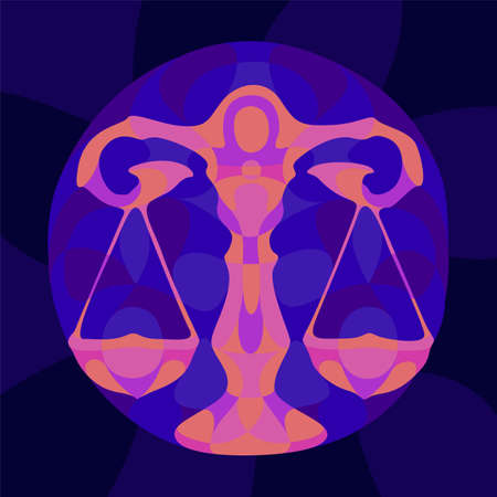 Beautiful colorful illustration with shiny neon colored libra slhouette on the dark blue background 矢量图像