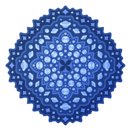 Cosmic illustration with isolated on the white background beautiful blue pattern with stars and planets 矢量图像