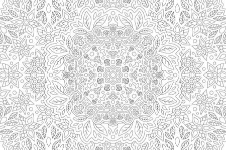 Beautiful black and white illustration for coloring book with rectangle linear floral pattern with mushrooms and leaves 矢量图像