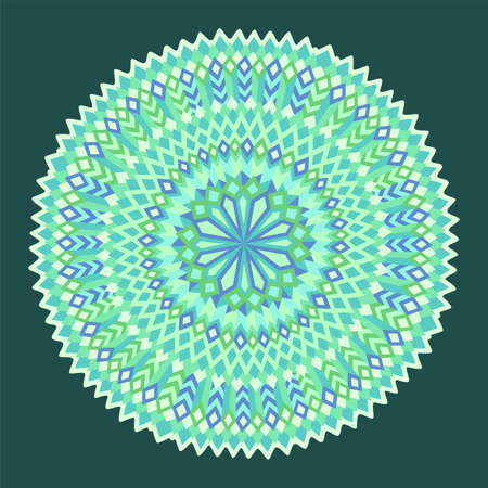 Beautiful green illustration with abstract geometric round pattern isolated on the dark background