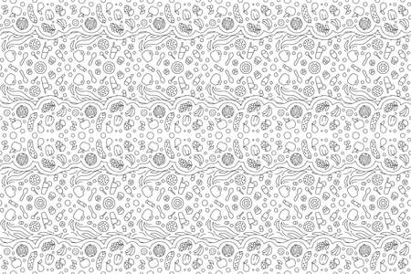 Beautiful black and white illustration for adult coloring book page with linear seamless pattern with fruits and sweets