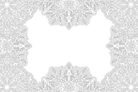 Beautiful monochrome linear illustration for adult coloring book page with floral rectangle border and white copy space