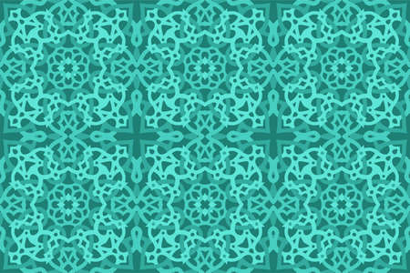 Beautiful aquamarine color web background with abstract seamless tile pattern
