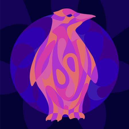 Beautiful colorful illustration with shiny neon colored penguin silhouette on the dark blue background 矢量图像