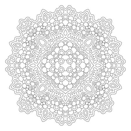 Beautiful monochrome illustration for coloring book page with linear abstract tribal pattern isolated on the white background