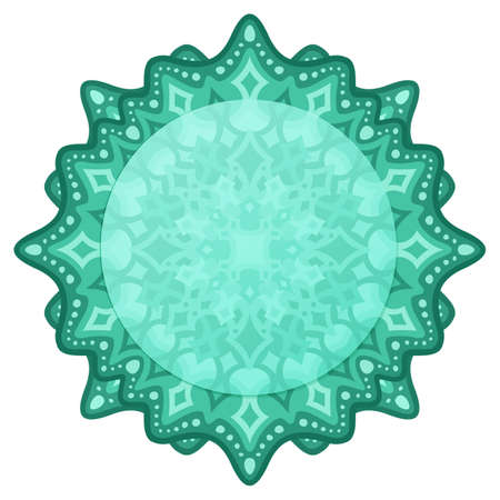 Beautiful illustration with isolated on the white background green eastern pattern with copy space