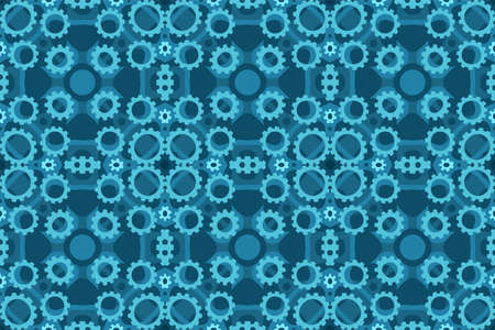 Beautiful blue steampunk seamless tile pattern with gears