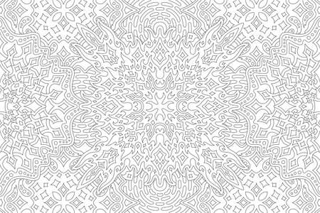 Beautiful black and white illustration for adult coloring book page with rectangle starry linear pattern