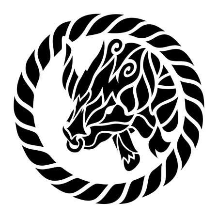 Beautiful tribal tattoo illustration with black taurus head in the circle isolated on the white background